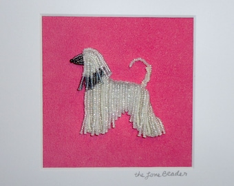Beaded White AFGHAN HOUND Mini Pet Portrait- Framed Dog Art- 8x8 shadowbox (Ready to Ship) (a)