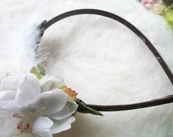 Headband Flowers White Wedding Rose Floral Hair Accessory Velvet Rose Millinery Flowers Handmade Vintage Wedding Shower Shabby Style