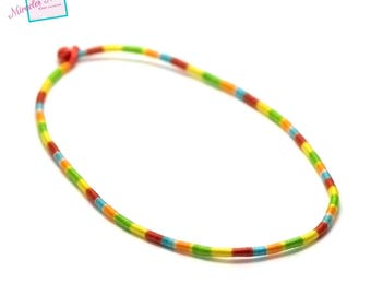 1 support ethnic necklace with cotton yarn muticolor