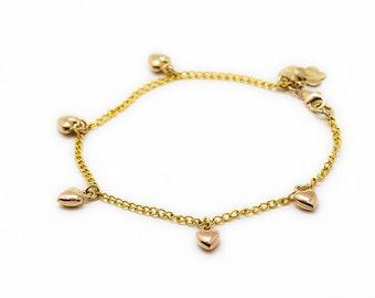 14K Gold charm bracelet - Chain bracelet with hearts - love bracelet- Free Shipping