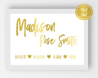 Birth Announcement Print / Gold Foil Baby Poster / New baby Nursery Art / personalised baby poster / custom birth print gold foil