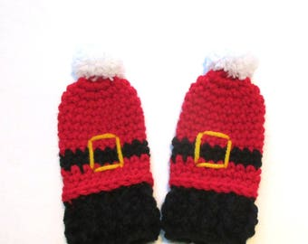 Thumbless baby Santa mittens.  One size.  Made to order.  Christmas mittens for babys first Christmas.  Stocking stuffer baby.