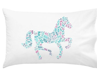 Personalized Pony Horse Pillowcase Pillow Room Decor Sleepover