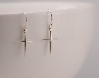 Sterling silver simple cross earrings. Simple cross jewelry. Simple cross earrings. Cross earrings