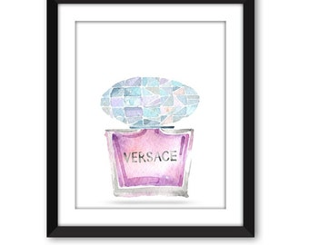 Digital print Versace perfume bottle art print Bath print Wall art  Fashionista Fashion print printable art Home decor Instant download