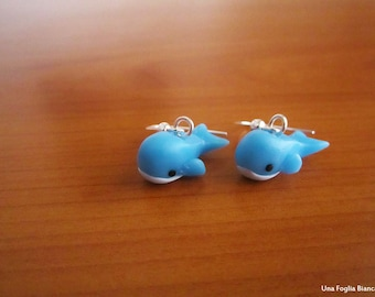 Whales earrings, cute earrings, kawaii cernit fimo handmade polymer clay