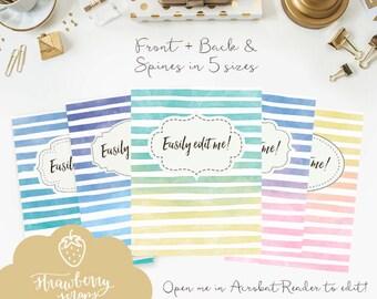 Stripes binder covers, 5x set Covers + Spines, Binder inserts, College binder printable, Teacher binder, School binder, Watercolor binder