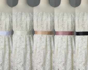 Wedding Bridal Double Faced Satin Ribbon Sash White, Ivory, Tan, Dusty Pink and Black