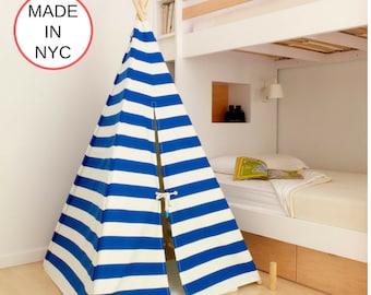 Blue Nautical Stripe Kids' Teepee (Small) - Canvas Teepee, Tipi, Play Tent, Kids Teepee, Childrens Teepee, Boho Teepee, Playhouse