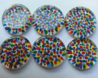 Hand painted flat large glass gems mosaic tile party favors colorful polka dots  art
