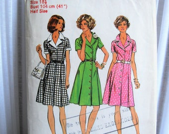 Vintage SIMPLICITY 6157  sewing pattern UK size 18.5 c.1970's