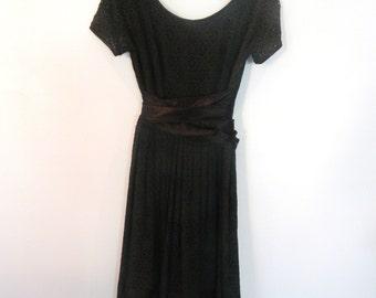 1950s black eyelet lace party dress S