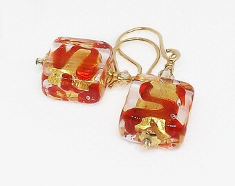 Murano Glass Earrings, Red and Gold Earrings, Glass Bead Earrings, Square Bead Earrings, Venetian Earrings, Murano Mini Earrings