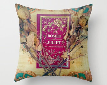 Romeo and Juliet Pillow- INSERT INCLUDED: Decor, bedding, library, teacher, Shakespeare, books, literature, photograph, roses, red, blue