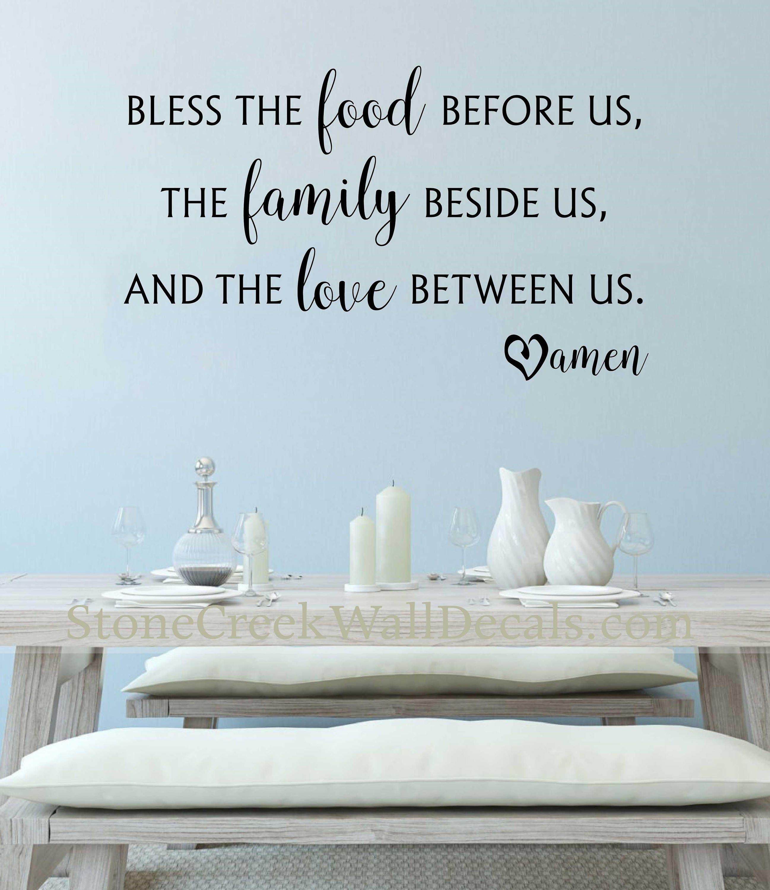 Bless The Food Before Us Wall Decal Kitchen Wall Decal Dining Room Decal  Vinyl Decal Family Wall Decal Meal Prayer Decal Kitchen Decals