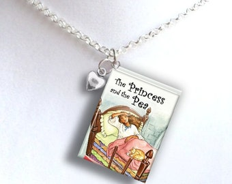 The Princess And The Pea with Tiny Heart Charm - Miniature Book Necklace