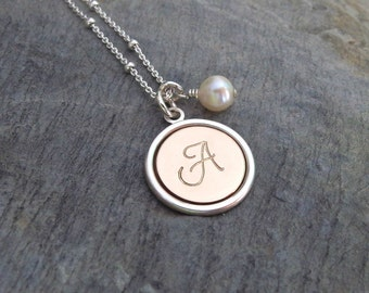 Initial necklace, Personalized initial necklace, Initial jewelry, Mother Daughter gift Mother of the bride gift Letter necklace Initial disc