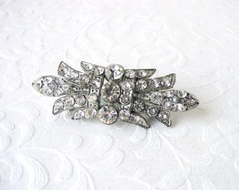 Art Deco Rhinestone Brooch Vintage Costume Jewelry Pin Wedding Bridal Formal Gown Clip Chic Something Old Great Gatsby Downton Abbey Bride