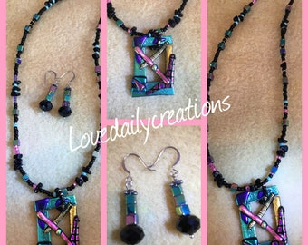 Fused glass necklace and earring set