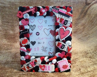 SALE - Valentine Love Themed Button Picture Frame