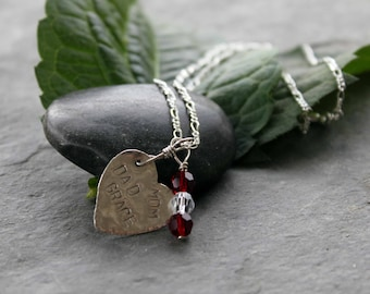 Personalized, sterling silver, hammered, heart charm necklace with birthstones
