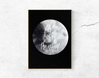 Fly Me to the Moon Print-Bedroom Wall Decor-Bathroom Wall Decor-Bathroom Wall Art-Dorm Decor-Bathroom Art-Moon Art-Funny Quote Prints