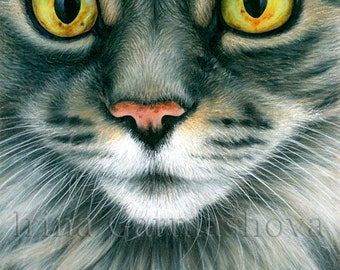Tabby Cat Print Close Up by Irina Garmashova