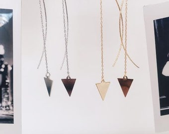 Gold plated / Silver triangle threaded earrings