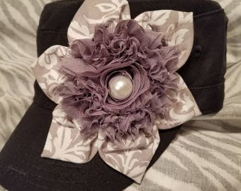 Shabby Chic Grey Rose with Grey White Flower and Beautiful Pearl Black Cadet hat