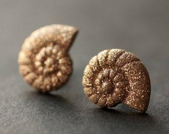 Snail Shell Earrings. Glitter Seashell Earrings. Bronze Post Earrings. Beach Earrings. Sea Shell Earrings. Stud Earrings. Handmade Jewelry.