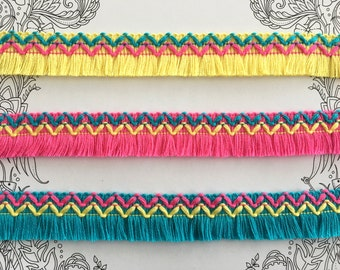 Fluorine Colour Fringe Trim, DIY Customization, Boho Trim, Mexican Trim || 2 cms / 0,78'' ||