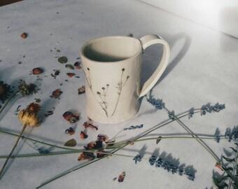 Slab-built Wildflower White Ceramic Botanical Mug