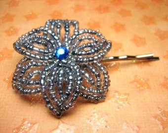 Gray Escape - Bobby Pin - French Beaded Flower