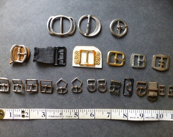 Collection of 23 Small Vintage Metal Buckles