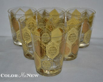 Vintage Mid Century Cera Gold Pineapple Patterned Double Old Fashioned Glasses - Set of 6