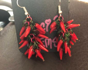 "Red ""HOT"" Chili Pepper Earrings"