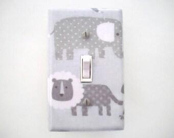 Elephant Light Switch Cover - Jungle Switch Plate - Grey Nursery Decor