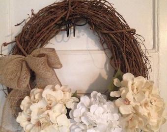 Cream Hydrangea Wreath, Rustic Wreath, Spring Wreath, All Season, Rustic Wreath , Farmhouse Wreath, Shabby Chic, Minimalist Wreath