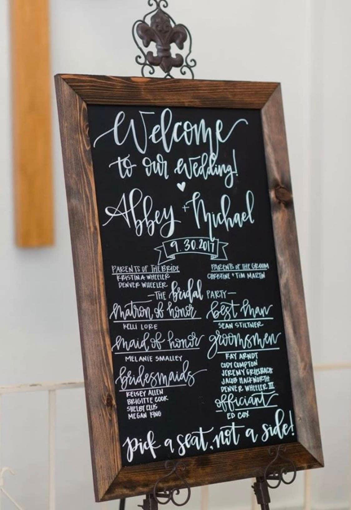 Tafel Hochzeit Programm Zeichen rustikale Hochzeit Programm