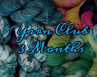 Yarn club, yarn subscription, yarn, crochet, knit, three month, Free shipping