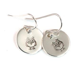 Owl Dangle Earrings - Little Girl Earrings - Girls Earrings - Flower Girl Earrings - Silver Earrings - Hand Stamped - Sterling Silver