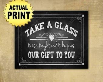Take a Glass wedding favor sign, wedding favors, printed wedding signs, barn wedding sign, rustic wedding signage, wedding mug favors sign