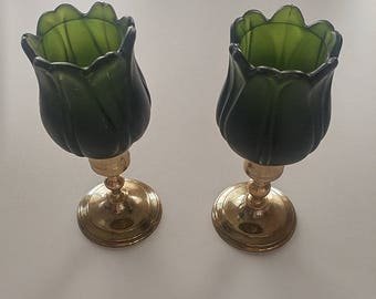 Parnoy tulip glass candle holders with brass holders