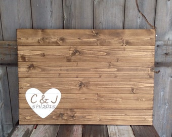 wedding guest book, guest book, wedding guestbook, custom guest book, guestbook, rustic guestbook, Initials, date with Heart, measures 30X21