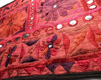 Vintage Indian Decorative Embroidered Patchwork Wall Panel / Hanging with Mirror Work  1970s  Ethnic Rajastan
