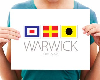 Warwick, Rhode Island - Nautical Flag Print