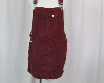 Vintage 90s Womens Burgundy CORDUROY Bibs Dress / Overalls Dress
