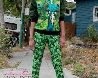 Leaf Weed Print Spandex Leggings