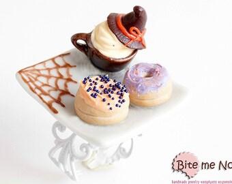Halloween Mini Donuts and Cappuccino Ring, Mini Food Jewelry, Halloween Jewelry,  Spooky Ring, Halloween Gift, Spider Web, Festive Jewelry