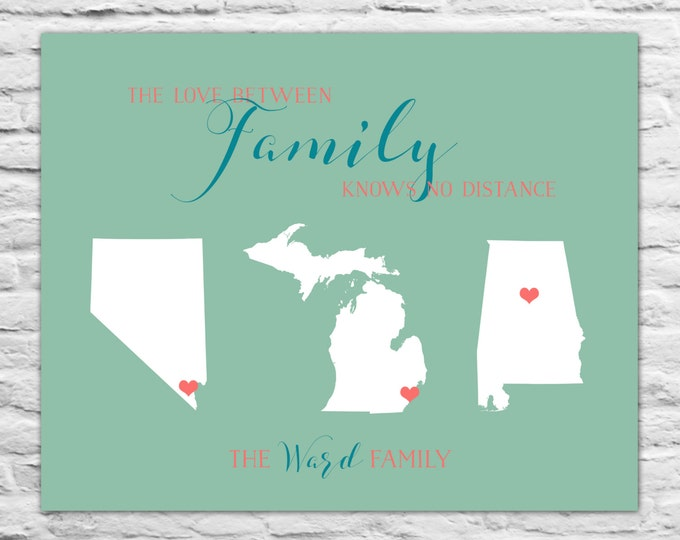 Personalized Art Map Gift, Family Map, Christmas Gift for Parents, Grandma, Grandpa, Grandparents, Aunts, Uncles, Sister, Brother, Mom, Dad